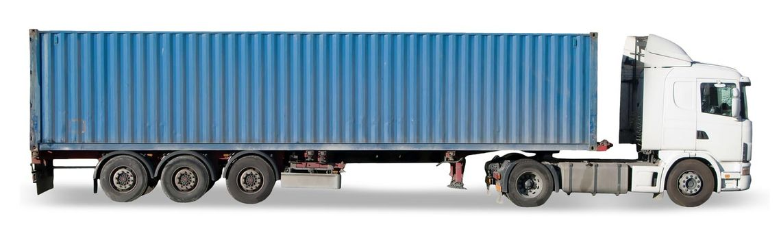 Shipping container on truck