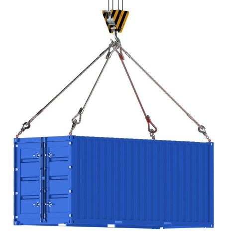Blue Shipping container on cables